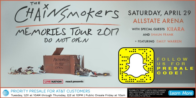 The Chainsmokers Announce Debut Album & Bring North American Tour to Allstate Arena!